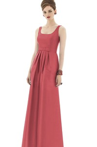 Long Square Sleeveless Satin Gown with Belt and Ruching