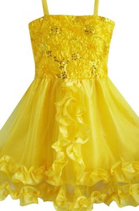 Sleeveless A-line Sequined Dress With Ruffles and Bow