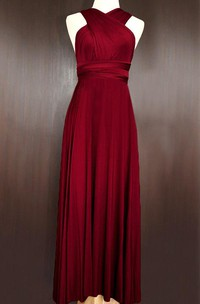 Maxi Wine Red Bridesmaid Infinity Convertible Wrap Multiway Dress