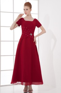 Flattering Square Beaded Ankle Length a Line Chiffon Mother of the Bride Dresses