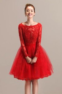 Lace and Tulle A-line Bateau Knee Length Dress with Pleats