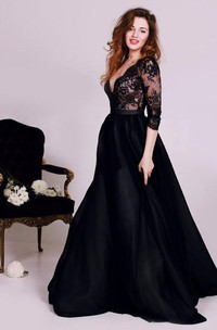 Sexy Black Lace Appliques V-neck 2018 Evening Dress 3-4-Length Sleeve A-line