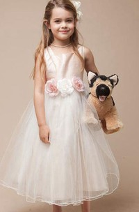 Flower Girl Jewel Neck Empire Tulle Ball Gown With Floral Sash