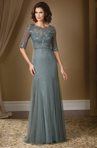 Half-Sleeved Long Mother Of The Bride Dress With Lace And Illusion Detail