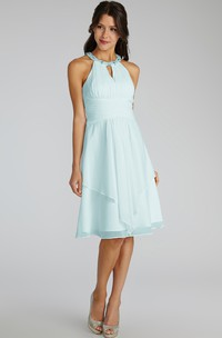 Short Chiffon Dress With Beaded Jewel Neck