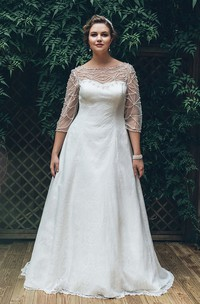 A-Line Floor-Length Bateau Neck 3-4-Sleeve Lace Sweep Train Illusion Beading Dress