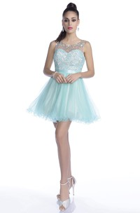 Lace And Tulle A-Line Mini Prom Dress With Top Rhinestones