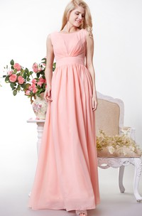 Bateau Neckline Chiffon A-line Floor Length Dress