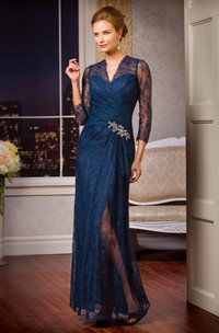 3-4 Sleeved V-Neck Lace Mother Of The Bride Dress With Crystals And Illusion Style