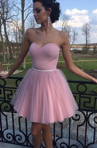 A-line Sleeveless Satin Tulle Sweetheart Short Mini Homecoming Dress