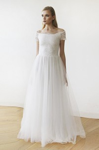Lace Tulle Off-the-shoulder Floor-length Short Sleeve A-line Wedding Dress