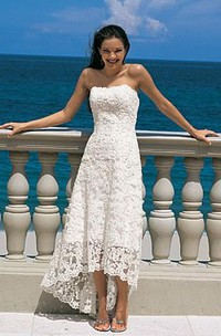 Gorgeous sheath Strapless Asymmetry-length Lace Wedding Dresses
