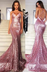 Glamorous Sequins V-Neck Prom Dresses 2018 Mermaid Spaghetti Straps Party Gowns