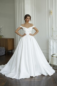 Off-the-shoulder Criss Cross Illusion Satin Wedding Dress With Illusion Keyhole Back And Buttons