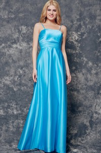 A-line Long Satin Dress With Spaghetti Straps