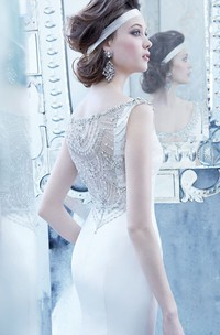 Stunning Beaded Scoop Neckline Satin Dress With Crystal Embroidered V Back