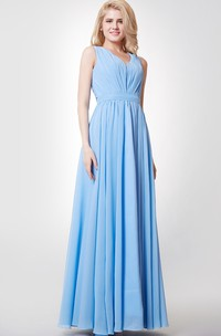 Empire V-neck A-line Pleated Chiffon Gown With Keyhole