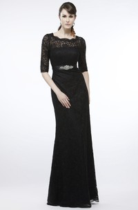Sheath Floor-Length Jeweled Half-Sleeve Bateau-Neck Lace Prom Dress With Appliques And Ribbon