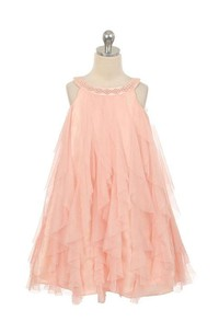 Scoop Beading Neckline Sleeveless A-line Tulle Long Dress With Ruffles