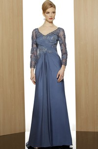 Sheath V-Neck Floor-Length 3-4-Sleeve Appliqued Satin Formal Dress With Beading