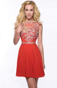 A-Line Chiffon Cap Sleeve Homecoming Dress Featuring Shimmering Bodice