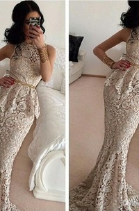 Gorgeous Full Lace Sleeveless Mermaid Evening Dresses Sweep Train Prom Gowns