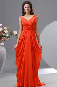 Unique V-Neck Empire Chiffon Long Dress With Draped V-Back