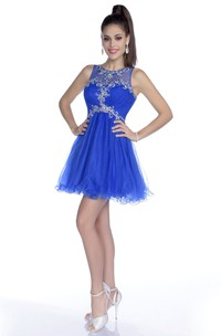 Tulle Sleeveless A-Line Prom Dress With Jewel Detailed Bodice