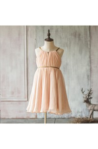Spaghetti Straps Pleated A-line Chiffon Short Dress With V-back