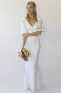 V-back Illusion Half Bell Sleeve V-neck Floor-length Mermaid Lace Wedding Dress