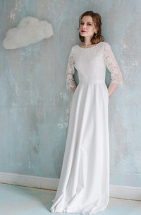 Sheath Half Sleeve Lace Vintage Style Dress With Low-V Back
