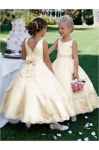 Ball Gown Scoop Sleeveless Bowknot Ankle-length Satin Flower Girl Dresses