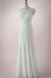 Bateau-Neck Graceful Cap-Sleeved Floor-Length V Back Dress