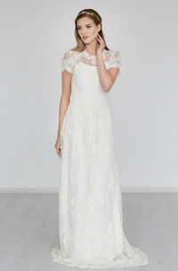 Short Sleeve A-Line Lace High Neck Dress With Illusion Back