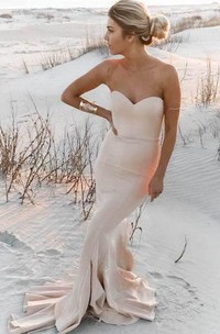 Mermaid Sweetheart Sleeveless Bell Poet Ruffles Sweep Train Backless Jersey Satin Dress