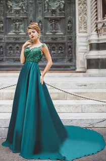 A-Line Court Train High-Neck Short Sleeve Jersey Beading Appliques Low-V Back Dress