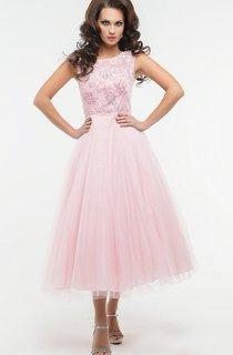 A-Line Tea-Length Jewel Short Sleeve Tulle Appliques Pleats Low-V Back Dress