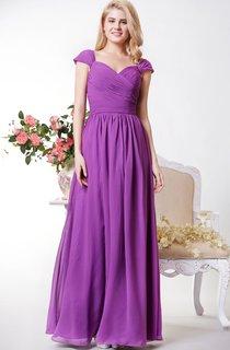 Demure Cap-sleeved A-line Chiffon Long Dress