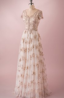 Embriodery Bodice Dress With Floral Skirt