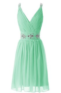 V-neck Rhinestoned Pleated A-line Short Dress With Band