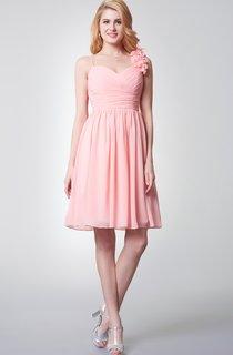 Floral Spaghetti Strap Ruched A-line Short Chiffon Dress
