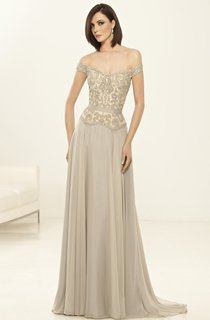 Sheath Floor-Length Off-The-Shoulder Chiffon Crystal Detailing Dress