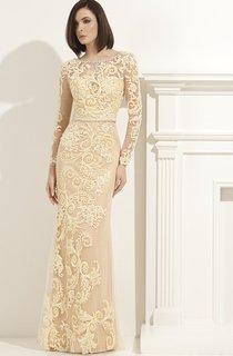 Sheath Floor-Length Scoop-Neck Long Sleeve Lace Appliques Waist Jewellery Illusion Dress