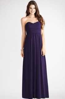 Sweetheart Long-Chiffon Dress With Ruching