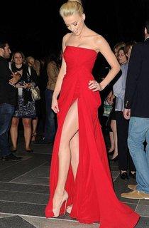 Strapless Long Chiffon Dress with Side Split