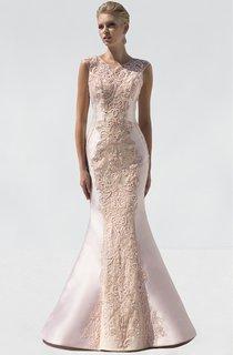 Mermaid Long Scoop-Neck Sleeveless Satin Beading Illusion Dress