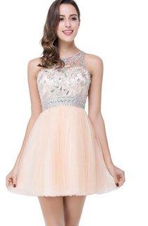Elegant Beadings Crystal Short Prom Dress Chiffon Homecoming Gown