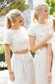 Modern White Two Piece A-line 2016 Bridesmaid Dress Lace Short Sleeve Jewel