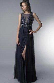 A-line Floor-length Jewel Sleeveless Tulle Low-V Back Dress