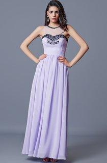 Jewel Neckline Pleated A-line Long Chiffon Dress